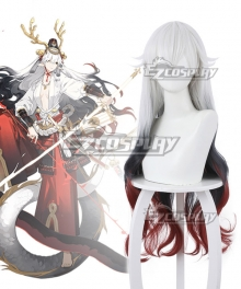 Onmyoji Suzuka Gozen White Red Black Cosplay Wig