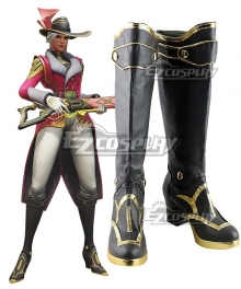 Overwatch Ashe Socialite Skin Ashe Black Cosplay Boots