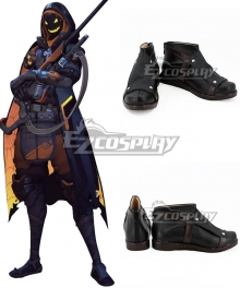 Overwatch Halloween Terror Ana Amari Skin Ghoul Black Cosplay Shoes
