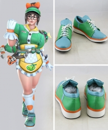 Overwatch OW Anniversary 2019! Mei Legendary Skin Mei Ling Zhou Green Blue Cosplay Shoes - B Edition