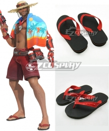 Overwatch OW Jesse McCree 2017 Summer Lifeguard Skin Slippers Black Cosplay Shoes