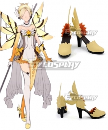 Overwatch OW Mercy Angela Ziegler Magical Girl Yellow Cosplay Shoes