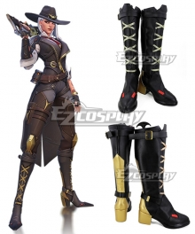 Overwatch OW New Hero Ashe Black Golden Shoes Cosplay Boots