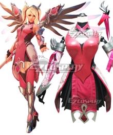 Overwatch OW Pink Mercy Charity Skin Mercy Angela Ziegler Cosplay Costume