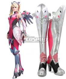 Overwatch OW Pink Mercy Charity Skin Mercy Angela Ziegler Pink Silver Shoes Cosplay Boots