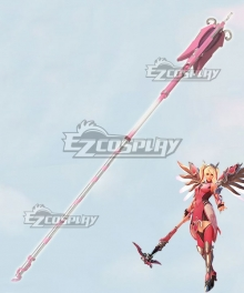 Overwatch OW Pink Mercy Charity Skin Mercy Angela Ziegler Staff Cosplay Weapon Prop