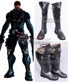 Overwatch OW Reaper Gabriel Reyes Blackwatch Silver Black Shoes Cosplay Boots