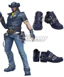 Overwatch OW Storm Rising Skin Jesse McCree Blue Cosplay Shoes