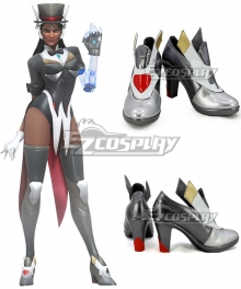 Overwatch OW Symmetra Satya Vaswani Magician Silver Gray Cosplay Shoes