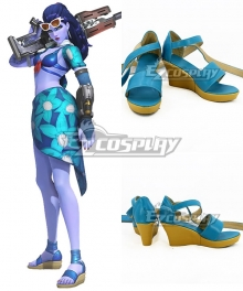 Overwatch OW Widowmaker Aelie Lacroix Cote D'azur Widowmaker Skin Blue Cosplay Shoes