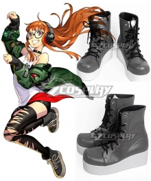 Persona 5: Dancing Star Night Futaba Sakura Grey Shoes Cosplay Boots