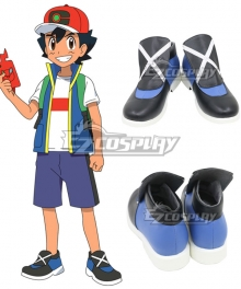 Pokemon 2019 Anime Series Ash Ketchum Black Cosplay Shoes