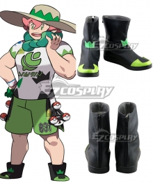 Pokemon Pokémon Sword And Shield Milo Black Green Cosplay Shoes