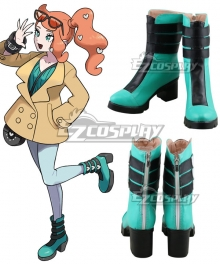 Pokemon Sword And Pokemon Shield Sonia Blue Green Cosplay Shoes