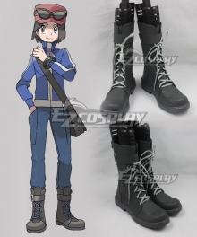 Pokemon XY Pokemon Pocket Monster Calem Black Shoes Cosplay Boots