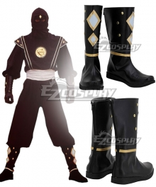 Power Rangers Black Ninjetti Ranger Black Cosplay Shoes