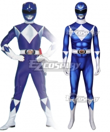 Mighty Morphin Power Rangers Blue Ranger Zentai Jumpsuit Cosplay Costume