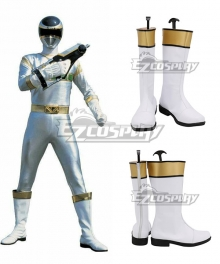Power Rangers In Space Silver Space Ranger White Shoes Cosplay Boots