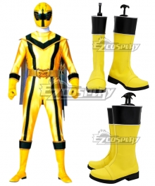 Power Rangers Mystic Force Yellow Mystic Ranger Yellow Shoes Cosplay Boots