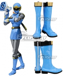 Power Rangers Ninja Storm Blue Wind Ranger Blue Shoes Cosplay Boots