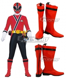 Power Rangers Samurai Red Samurai Ranger Red Shoes Cosplay Boots