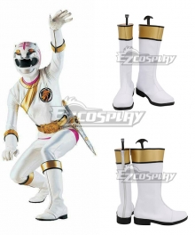 Power Rangers Wild Force White Wild Force Ranger White Shoes Cosplay Boots
