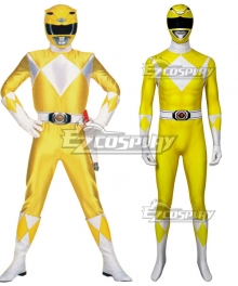 Mighty Morphin Power Rangers Yellow Ranger Zentai Jumpsuit Cosplay Costume