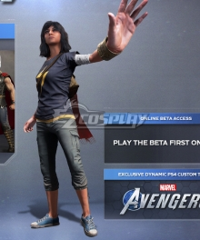 PS4 Avengers Ms. Marvel Kamala Khan Cosplay Costume