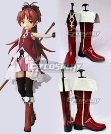 Puella Magi Madoka Magica Sakura Kyoko Red Or Dark Red Cosplay Shoes