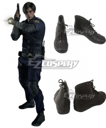 Resident Evil 2 Remake Leon Scott Kennedy Black Cosplay Shoes