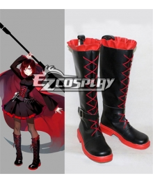 RWBY Leader of Team RWBY Ruby Rose Flat Black Shoes Cosplay Boots