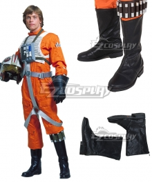 Star Wars Luke Skywalker X-Wing Pilot Fighter Black Shoes Cosplay Boots