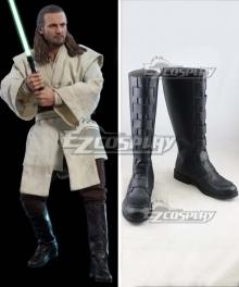 Star Wars Qui-Gon Jinn Black Shoes Cosplay