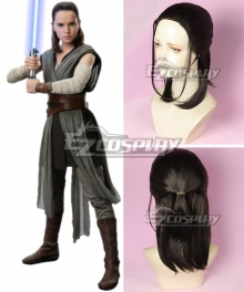 Star Wars The Last Jedi Rey Black Brown Cosplay Wig