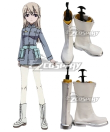 STRIKE WITCHES Eila·Ilmatar·Juutilainen White Shoes Cosplay Boots