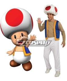 Super Mario Bros Adult Toad Cosplay Costume