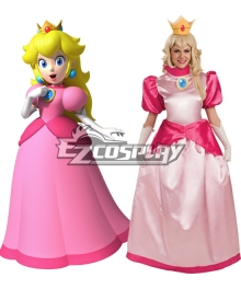 Super Mario Bros Princess Peach Adult Cosplay Costume