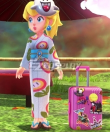 Super Mario Odyssey Princess Peach Festival Fire Flower Kimono Cosplay Costume