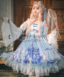Sweet Lolita OP Snow Country Girl Light Blue Long Sleeve One Piece Lolita Dress