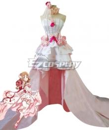 Sword Art Online SAO Asuna Yuuki Asuna Wedding Dress Cosplay Costume