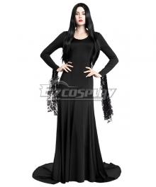 The Addams Family Morticia Addams Black Dress Halloween Cosplay Costume