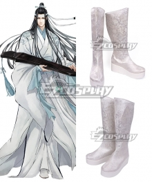 The Grandmaster of Demonic Cultivation Mo Dao Zu Shi Lan Wangji White Shoes Cosplay Boots