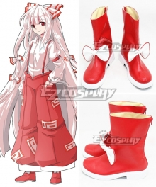 Touhou Project Fujiwara No Mokou Red White Shoes Cosplay Boots