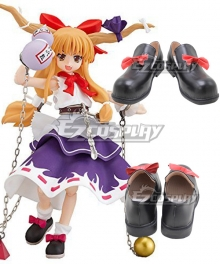 Touhou Project Ibuki Suika Black Cosplay Shoes