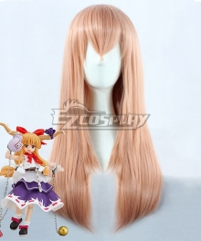 Touhou Project Ibuki Suika Brown Pink Cosplay Wig