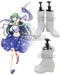 Touhou Project Kochiya Sanae White Cosplay Shoes