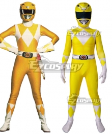 Kids Power Rangers Trini kwan yellow ranger Zentai Jumpsuit Cosplay Costume