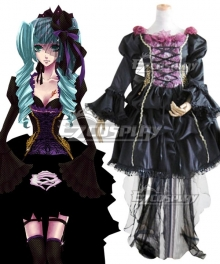 Vocaloid Hatsune Miku Black Lolita Dress Cosplay Costume