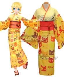 Vocaloid Kagamine Rin Yukata Kimono Cosplay Costume