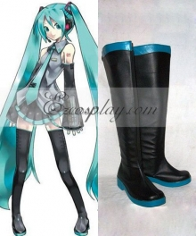 Vocaloid Hatsune Miku Black Shoes Cosplay Boots